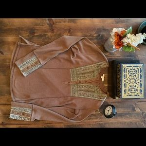 ODDY Brown Waffle Top with Lace Detail - Size L